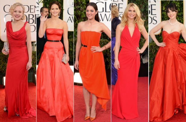 Alison Pill, Jennifer Lawrence de Dior, Marion Cotillard de Dior, Claire Danes de Versace e Zooey Deschanel de Oscar de la Renta