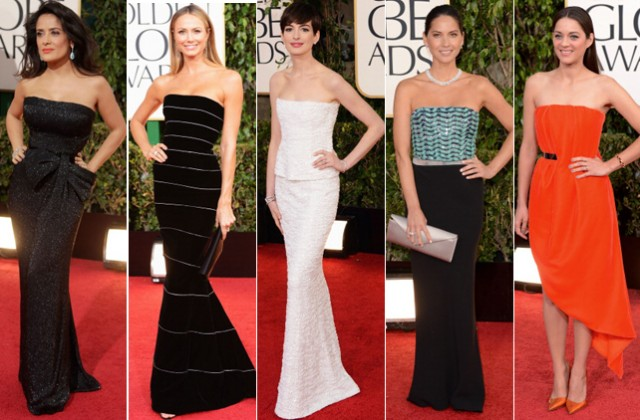 Salma Hayek in Gucci, Stacy Keibler in Armani Prive, Anne Hathaway in Chanel, Olivia Munn in Armani, Marion Cotillard in Dior