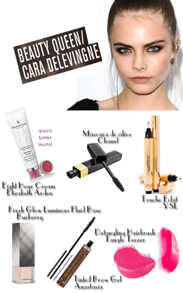 Cara-Delevingne-produtos-favoritos-tangle-teezer-elizabeth-arden-eight-hour-cream-anastasia-brow-gel-burberry-fresh-glow-YSL-touche-eclat-rimel-chanel