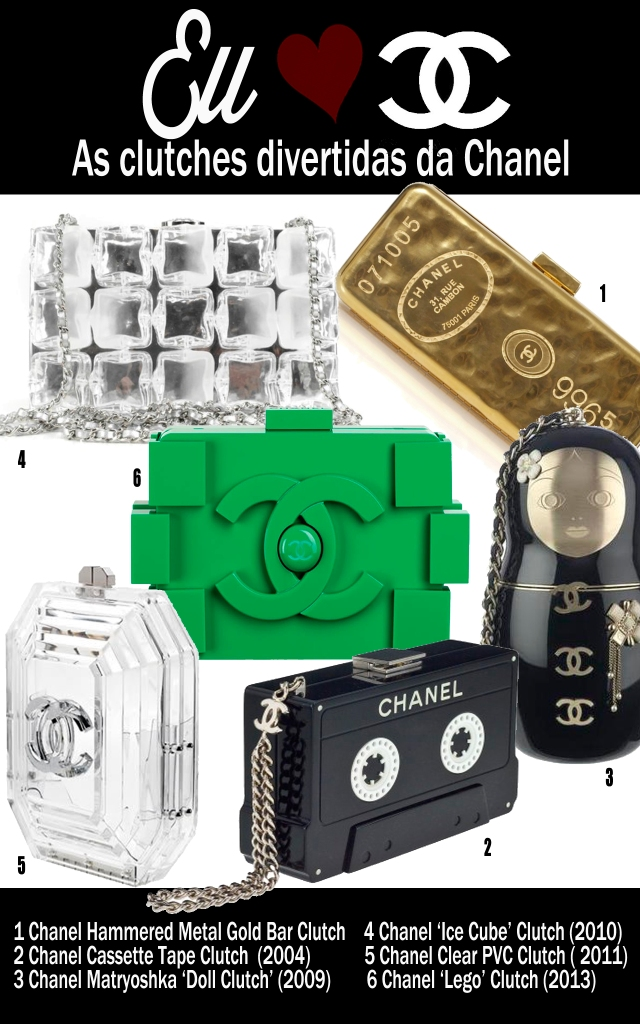 chanel-clutch-Clear-PVC-Clutch-'Ice Cube'-Clutch-Matryoshka-'Doll-Clutch'-Cassette-Tape-Clutch-Hammered-Metal-Gold-Bar-Clutch-'Lego'-Clutch
