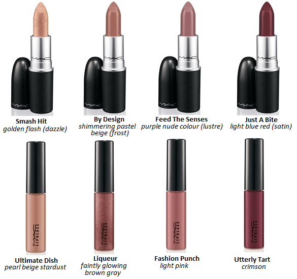 Smash Hit – golden flash (Dazzle)     By Design – shimmering pastel beige (Frost)     Feed The Senses – purple nude color (Lustre)     Just a Bite – light blue red (Satin) Lipglass:    Ultimate Dish – pearl beige stardust     Liqueur – faintly glowing brown gray     Fashion Punch – light pink     Utterly Tart – crimson
