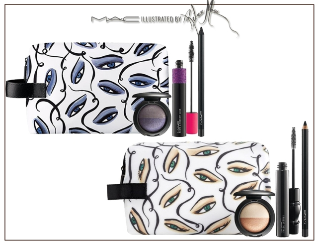 Illustrated Eye Bag — Smoldering ($46.50) (Limited Edition)     This and That Frosty beige-rose/satiny beige (Mineralize Eyeshadow Duo) (Limited Edition, Repromote)     Smolder Intense black (Kohl Eye Pencil) (Permanent)     False Lashes Mascara Black (Permanent) Illustrated Eye Bag — Sultry ($46.50) (Limited Edition)     Thunder and Rain Frosty blue-purple and satin grey (Mineralize Eyeshadow Duo) (Limited Edition, Repromote)     Feline Rich black (Kohl Power) (Permanent)     Haute & Naughty Mascara Black (Permanent)
