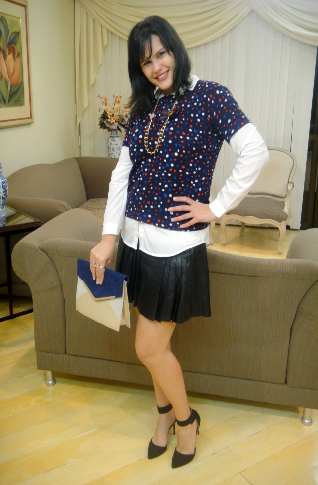 Blusa, Tricot e Bolsa: Issa London para C&A - Saia: Animale - Sapato: Zara