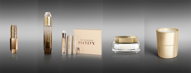 Burberry Body Gold Candle,  £39     Burberry Body  Body Cream 150ml, £42     Burberry Body Eau de Parfum Gold 60 ml, £55     Burberry Body Eau de Parfum Gold  Purse Spray, £50     Burberry Body  Fragrance Gift Set, £90