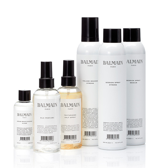 Silk Perfume, £20.95, Argan Moisturizing Elixir, £22.95, Volumizing Mousse, £18.95, Texturizing Salt Spray, £16.95  and a Session Spray, £18.95, all infused with hair-strengthening power duo argan oil and silk protein to hydrate, invigorate and rejuvenate. We especially love the chic Parisian-inspired Vaporizer, £12.95 - See more at: http://www.getthegloss.com/article/beauty-crush-balmain-s-hair-styling-line#sthash.0WmdMeXh.dpuf