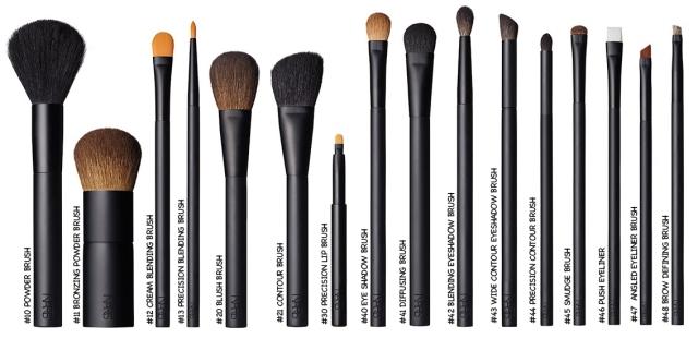FACE BRUSHES - Refine. Blend. Conceal #10 Powder Brush #11 Bronzing Powder Brush #12 Cream Blending Brush #13 Precision Blending Brush CHEEK BRUSHES - Sculpt. Contour. Highlight. #20 Blush Brush #21 Contour Brush LIP BRUSHES #30 Precision Lip Brush EYE BRUSHES - Line. Define. Blend. #40 Eye Shadow Brush #41 Diffusing Brush #42 Blending Eyeshadow Brush #43 Wide Contour Eyeshadow Brush #44 Precision Contour Brush #45 Smudge Brush #46 Push Eyeliner #47 Angled Eyeliner Brush #48 Brow Defining Brush
